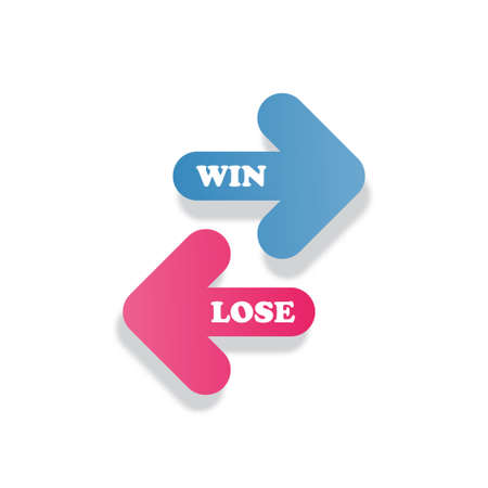 Win in blue color and lose in pink color arrow icon vector for graphic design, logo, web site, social media, mobile app, ui illustration