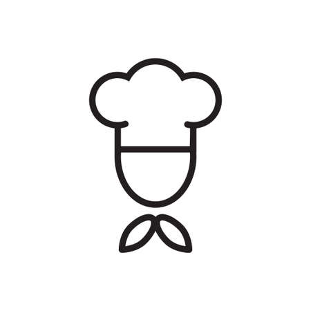Chef in a cooking hat vector outline icon food concept for graphic design, logo, web site, social media, mobile app, ui