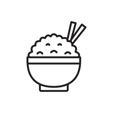 Rice in a bowl outline icon vector for graphic design,   web site, social media, mobile app, illustration Ilustrace