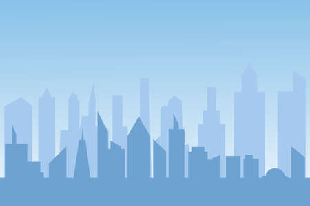 Buildings silhouette cityscape background. Modern architecture. Urban city landscape. vector illustration