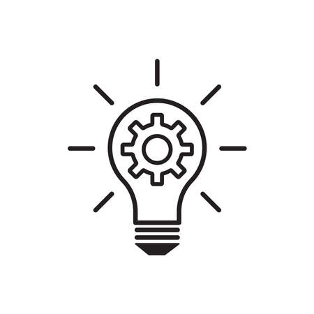 Light bulb and cog inside icon vector innovation concept for graphic design,  web site, social media, mobile app, ui illustration