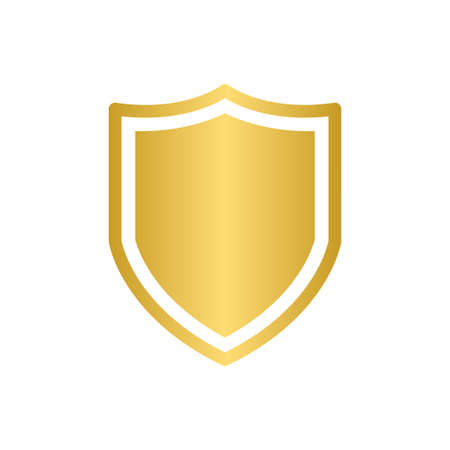 Gold shield vector icon security protection symbol for graphic design, web site, social media, mobile app, ui illustration Ilustrace