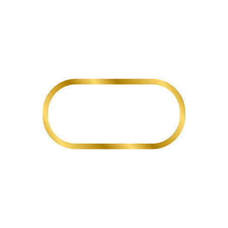 Gold shiny glowing vintage ellipse frame with shadows isolated on white background. Gold realistic square border. Vector illustration Ilustrace