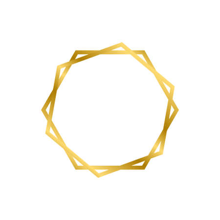 Gold shiny glowing vintage hexagon frame with shadows isolated on white background. Gold realistic square border. Vector illustration