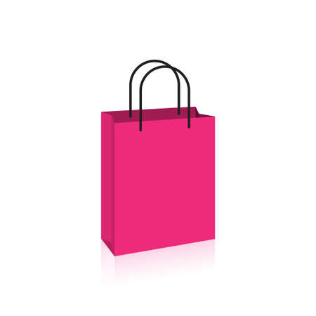 Blank pink paper shopping bag with black rope handles icon vector  for graphic design, logo, web site, social media, mobile app, ui illustration Ilustrace