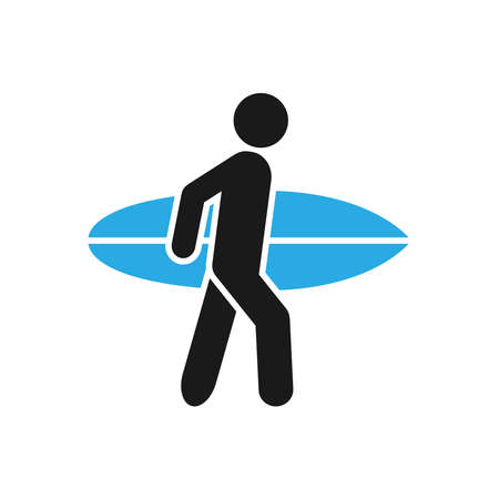 Person holding a surfbord icon vector for graphic design, web site, social media, mobile app, ui illustration