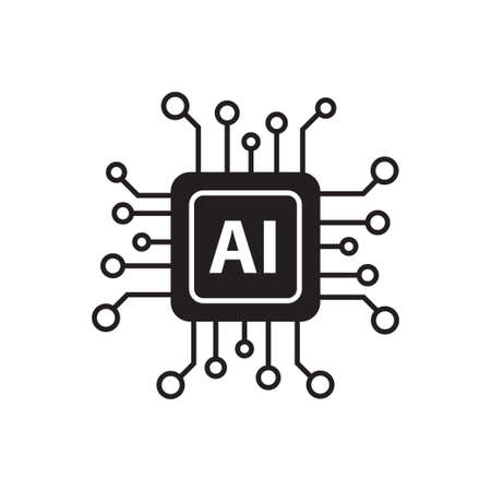Artificial intelligence AI processor chip vector icon symbol for graphic design, logo, web site, social media, mobile app, ui illustration Logo