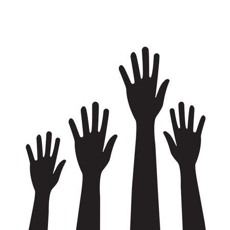 People hands raised vector for graphic design, logo, web site, social media, mobile app, ui illustration Logo