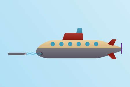 submarine launched torpedo on blue background vector illustration