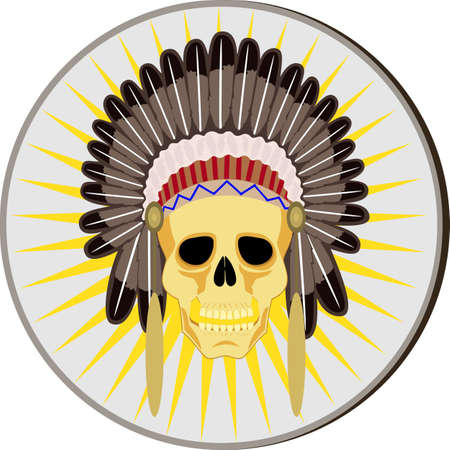 skull and indian headdress.