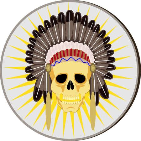 skull and indian headdress.