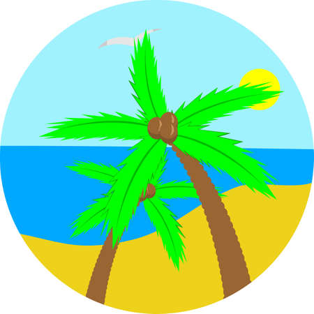 Illustration of the island, palm and ocean in a circle. Illustration