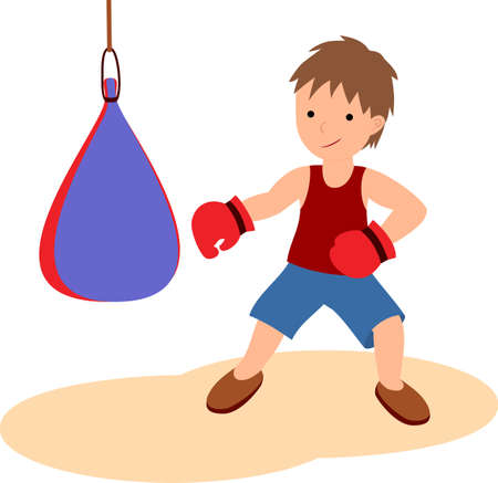 The boy is engaged in boxing.