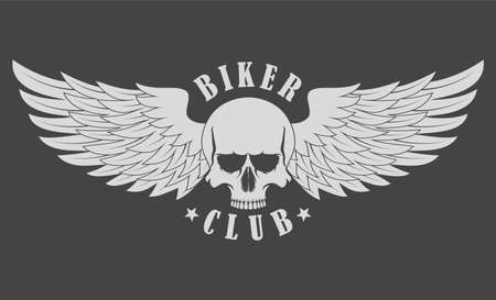 Skull with wings. Biker club Ilustrace
