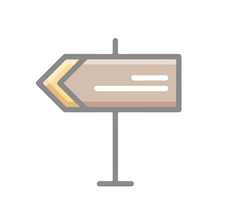 Direction Road Sign Icon Symbol Billboard Illustration in Flat and Modern Style