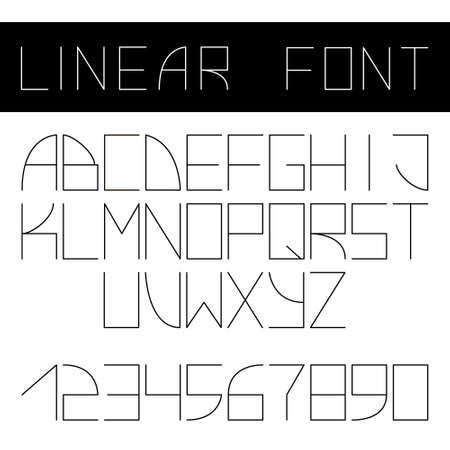 minimalistic: Vector minimalistic font. Linear style, thin lines.