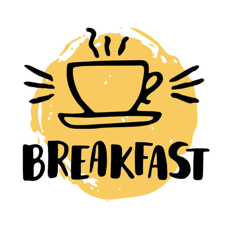 textrured: Breakfast offer design template with handlettering and doodle cup drawing. Textrured background. Perfect for cafe or restaurant menu or banner.
