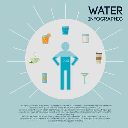 hydrate: Vector infographic template about water and beverage types. Modern flat design in bright colors with copy space.