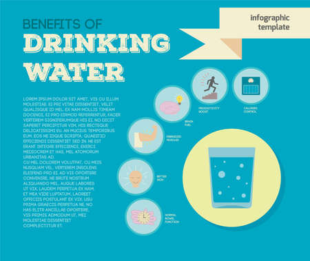 energized: Vector infographic template about benefits of drinking water. Modern flat design in bright colors with copy space.