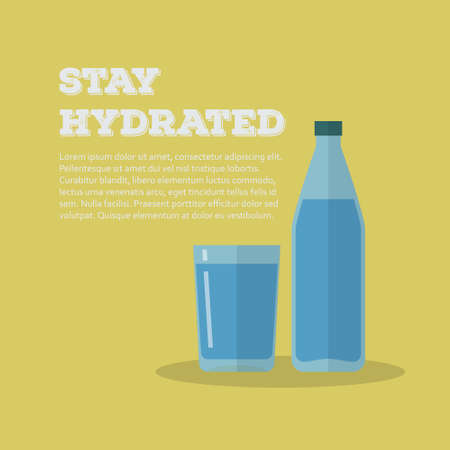 hydrate: Vector poster template with illustration of a bottle and glass of water with text stay hydrated and copy space. Modern flat design with bright colors.
