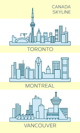 vancouver city: Set of vector skyline for Canada cities Montreal, Toronto and Vancouver. Modern minimal design, linear art with monochromatic colors.