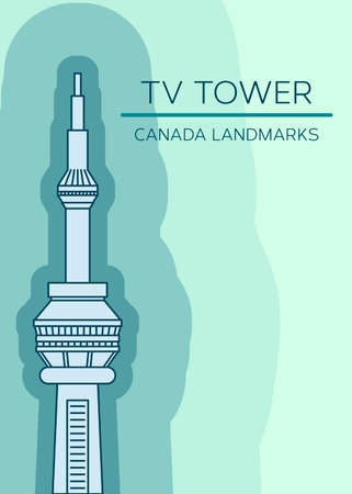 tv tower: Vector illustration of Toronto landmark - TV Tower. Canadian famous tourist attraction in modern minimal design, monochromatic linear art. Can be used for postcard or tourism booklet.