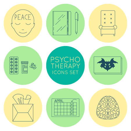 doctor appointment: Set of vector linear icons about psychotherapy concept. Trendy concept, minimalistic design.