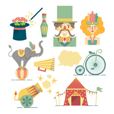 costume ball: Set of colorful flat illustrations with traveling circus elements. Performers, trained elephant, tent, cannon and other show equipment.