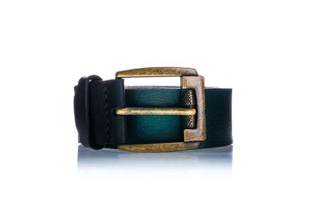 Green leather belt isolated on white background. Men accessories and fashion. Close up shot. Stock Photo
