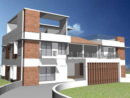 Modern duplex house Stock Photo