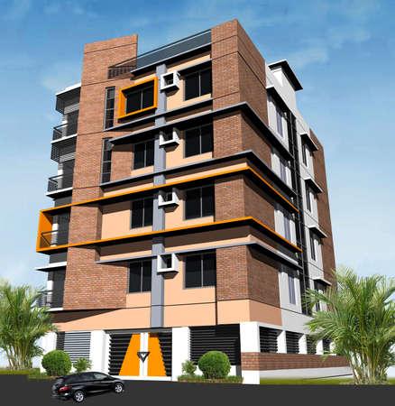3d modern building render