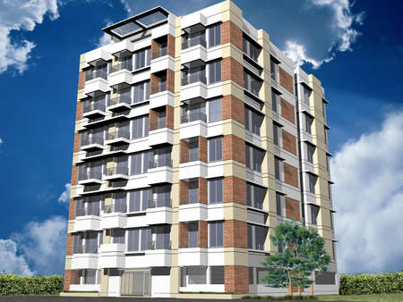 condominium: Building with blue background