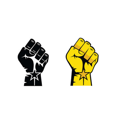 Black lives matter horizontal banner with protest fist in the air. Black lives matter graphic poster design template against racial discrimination Vettoriali