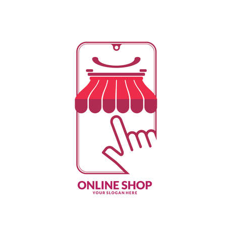 Modern Online Shop icon with smile face designs Template