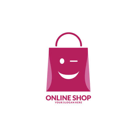 Modern Online Shop Logo with smile face designs Template