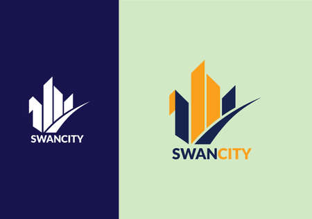 abstract swan shape architecture building symbol logo design template