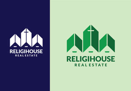 abstract architecture house with church symbol logo design template Vettoriali