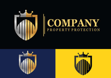 Home insurance, house in shield, logo design. Real estate, property, protection and sale, vector design and illustration with shield and crown Çizim