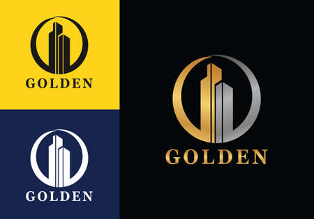 Real estate building CEO business company in Golden vector logo icon