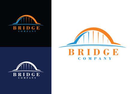 abstract bridge logo design template golden