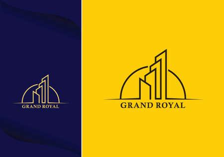 skyscraper city building line art logo design vector graphic