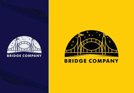 abstract bridge logo design template emblem symbol Illusztráció