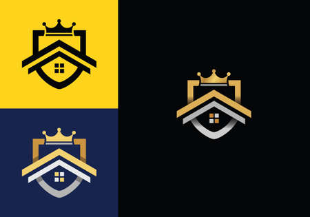 Home insurance, house in shield design. Real estate, property, protection and sale, vector design and illustration with shield and crown