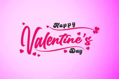 Happy Valentines Day typography poster with handwritten calligraphy text, isolated on Pink background. Vector Illustration 向量圖像