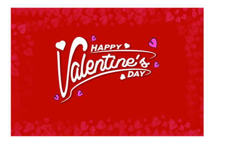 Happy Valentines Day typography poster with handwritten calligraphy text isolated on Red pink background Vector Illustration Cute love sale banner or romantic greeting card 向量圖像