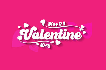 Happy Valentines Day typography poster with handwritten calligraphy text isolated on Pink background Vector Illustration Cute love sale banner or romantic greeting card