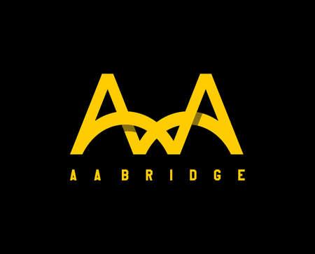 AA Bridge . letter AA in shape of bridge for architecture vector logo. design. icon. symbol. sign Ilustração