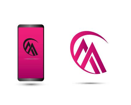 Abstract letter M Vector logo design. Letter A icon symbol sign Ilustração