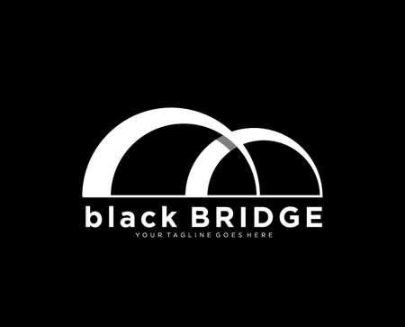 abstract bridge in letter b logo design template emblem symbol Ilustração