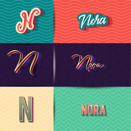 name Nora in various Retro graphic design elements, set of vector Retro Typography graphic design illustration